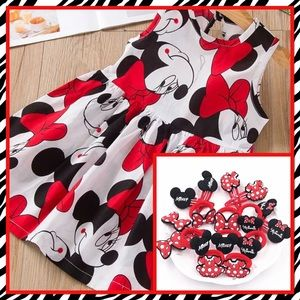 Other - 🌺Cute Minnie Printed Summer Dress & 2 Hair Bows🌺